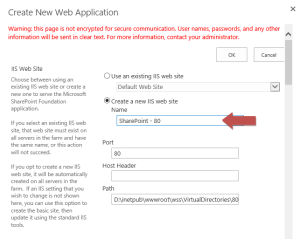 Create a new web application and specify its name