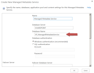 Enter the Managed Metadata Service Application details