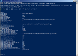PowerShell results from configuring an Office Web Apps farm