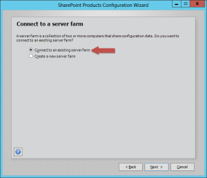 The join an existing farm option on the SharePoint Configuration Wizard