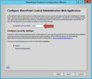 Specify the port for the Central Administration Web Application