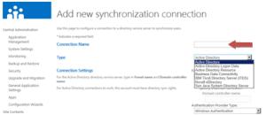 Add a user profile synchronization connection