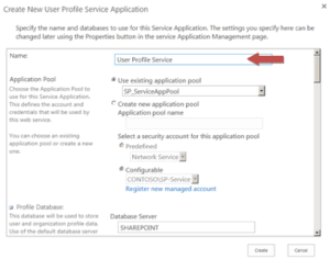 Enter the details for the User Profile Service Application