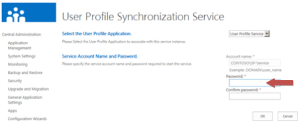 Enter the account information for the synchronization service