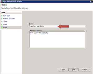 Windows Firewall rule specifying the rule's name