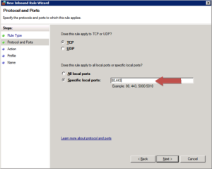 Windows Firewall rule specifying the protocol and ports