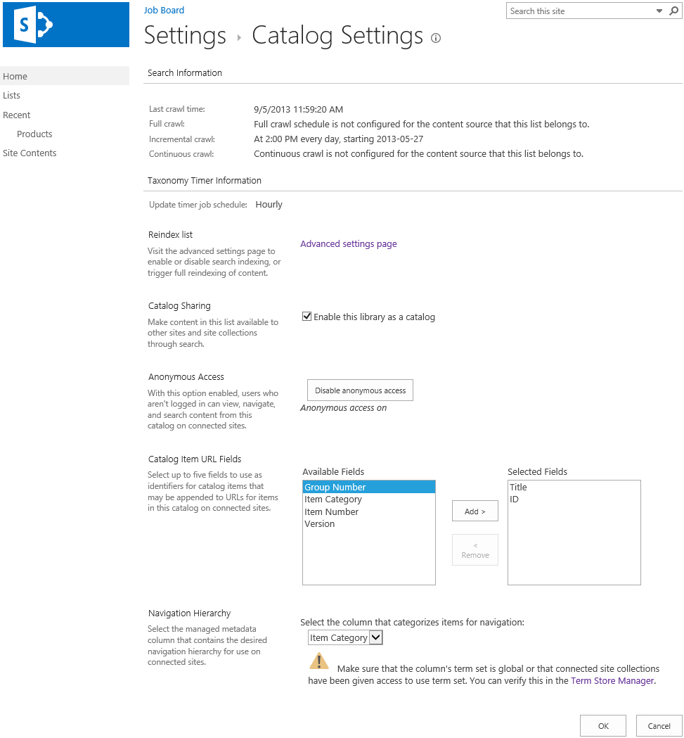creating a job postings board sharepoint steve goodyear catalog settings